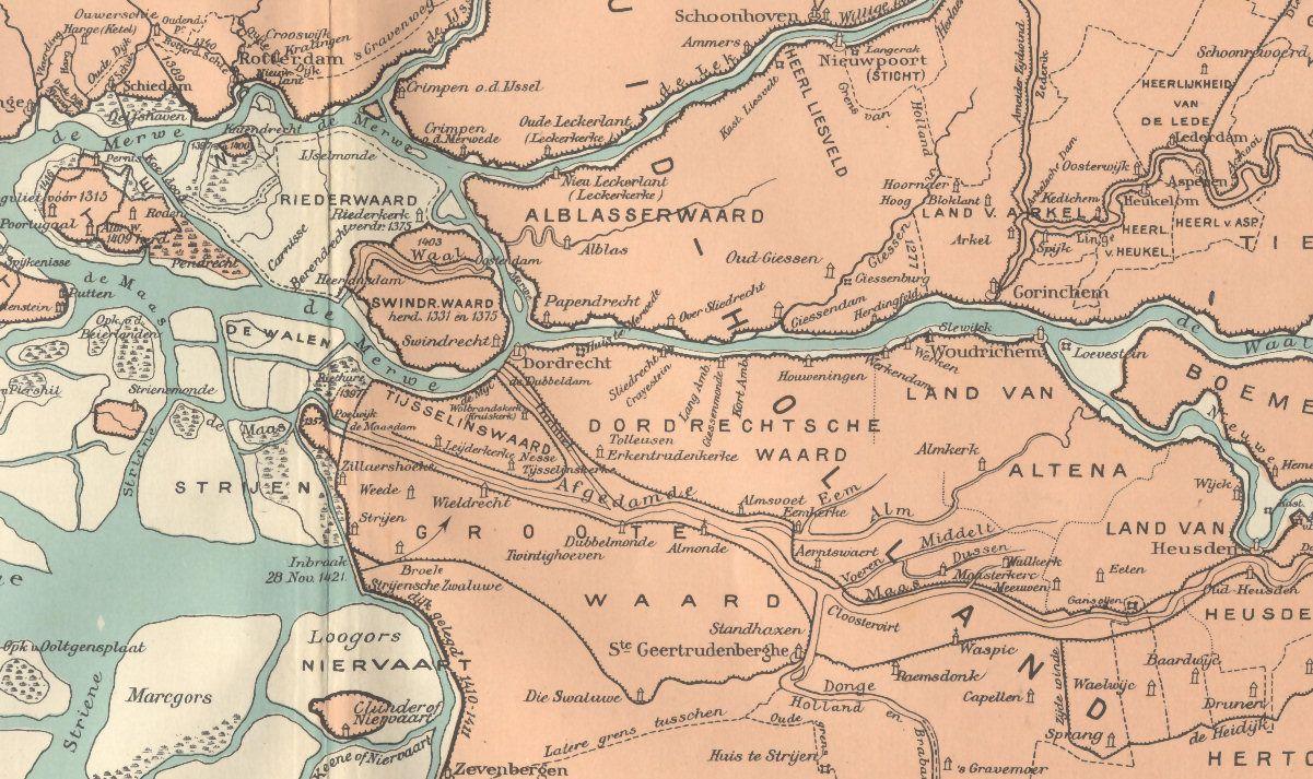 Afbeelding kaart Groote Waard in 1421