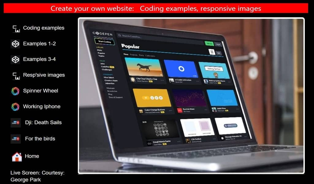 Coding examples menu, responsive images