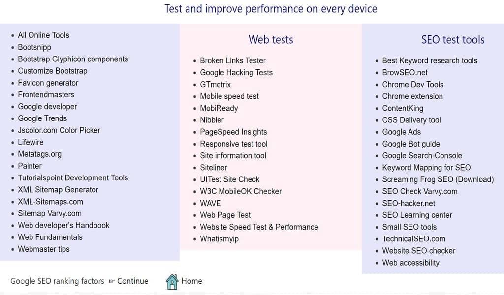Web tools & tests