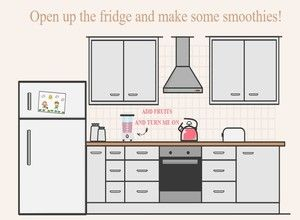 Open the fridge, fetch fruit to make smoothies